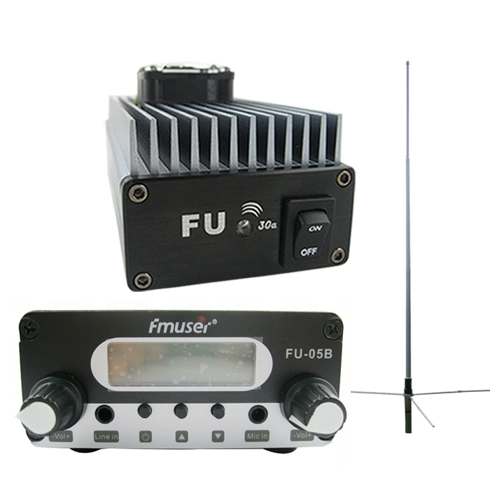 FMUSER FU-30A 30W Professional Power Amplifier Transmitter+0.5w FM Exciter 85-110MHz 1/2 Wave GP Antenna Kit
