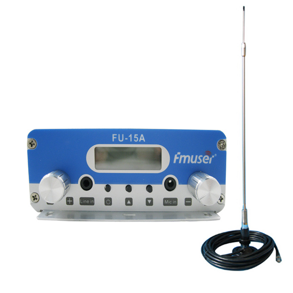 FMUSER FU-15A 15W FM Radio Transmitter Set Long Range FM Transmitter FM Broadcast Transmitter FM Exciter+CA200 Car Sucker FM Antenna Kit For Small FM Radio Transmitter CZE-15A CZH-15A