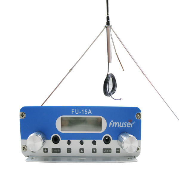 FMUSER FU-15A Sliver 15W FM Radio Transmitter Set Low Power Long Rang FM Broadcast Transmitter FM Exciter+1/4 Wave GP Antenna+Power Supply For Small Radio Station CZE-15A CZH-15A