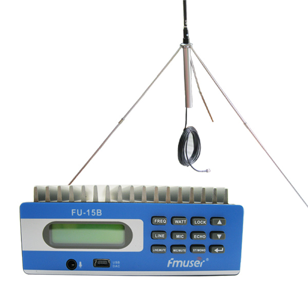 FMUSER FU-15B CZE-15B FM transmitter Advanced PC Control 0-15w adjustable with 1/4 wave GP antenna Power supply
