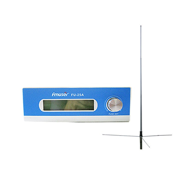 FMUSER FU-25A CZE-T251 CZH-T251 25W FM Transmitter Excellent sound quality 0-25w Mono/Stereo+1/2 wave GP antenna KIT for FM radio station