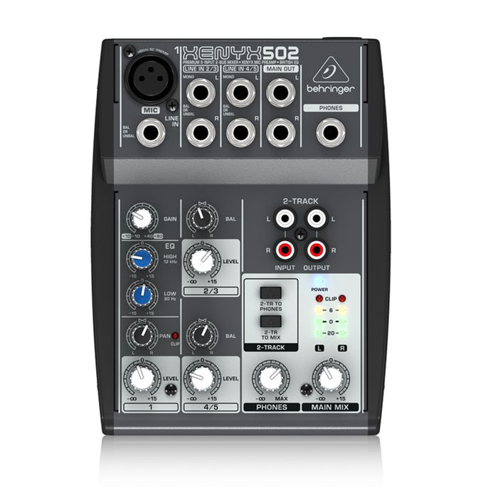 FMUSER Behringer Xenyx Q502USB Mixer Premium 5-Input, 2-Bus Analog Mixer with British2-Band EQ, USB Audio Interface, Mic Preamp, 2 Stereo Channels and CD/Tape I/O