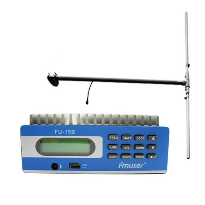 FMUSER FU-15B 15W FM Radio Transmitter Set Low Power Long Range FM Broadcast Transmitter Kit FM Exciter+1/2 Wave Dipole Antenna Kit For Small Radio Sation PC Control SWR Protection CZE-15B SDA-15B