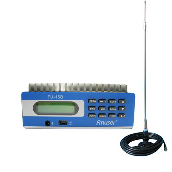 批发亚马逊FMUSER FU-15B 15W FM广播发射器FM激励器+ CA200汽车吸盘天线套件,用于电影院教堂停车场服务汽车广播电台CZE-15B CZH-15B