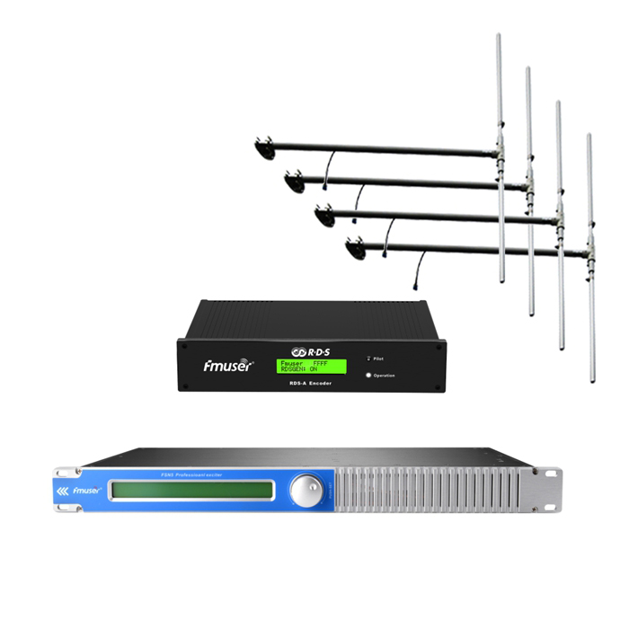 FMUSER 100Watt 150Watt FM Broadcast Transmitter + 4 * DP100 Antenna + Cable Set Gamit ang Digital RDS Encoder Radio Data System Encoder Para sa FM Radio Station
