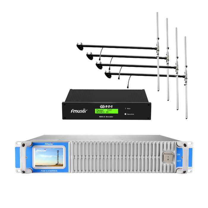 FMUSER 500Watt 600Watt FM Broadcast Transmitter + 4 * DP100 Antenna + Cable Set Gamit ang Digital RDS Encoder Radio Data System Encoder Para sa FM Radio Station