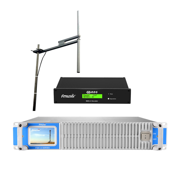 FMUSER 1000Watt 1KW FM Broadcast Transmitter + FU-DV2 Antenna + Cable Set Gamit ang Digital RDS Encoder Radio Data System Encoder Para sa FM Radio Station