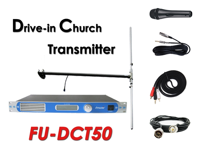 Wholesale Amazon FMUSER FU-DCT50 50Watt FM Transmitter+DP100 Dipole Antenna+Cable+Microphone Set For Drive-in Church Service/ Cinema/Parking Lots