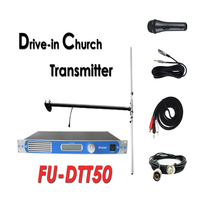Wholesale Amazon FMUSER FU-DTT50 50Watt FM Transmitter+DP100 Dipole Antenna+Cable+Microphone Set For Drive-in Church Service/ Cinema/Parking Lots