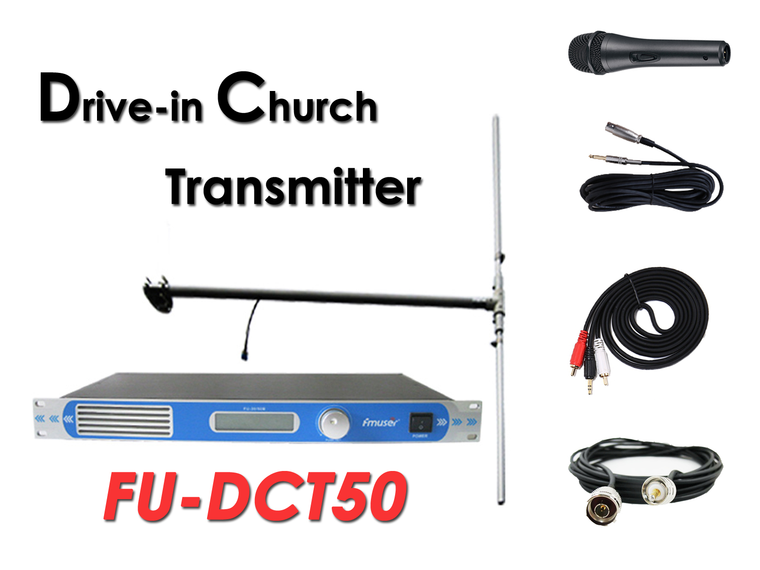 En gros Amazon FMUSER FU-DCT50 ​​50Watt Transmetteur FM + Antenne Dipôle DP100 + Câble + Microphone Set Pour Drive-in Church Service / Cinéma / Parking