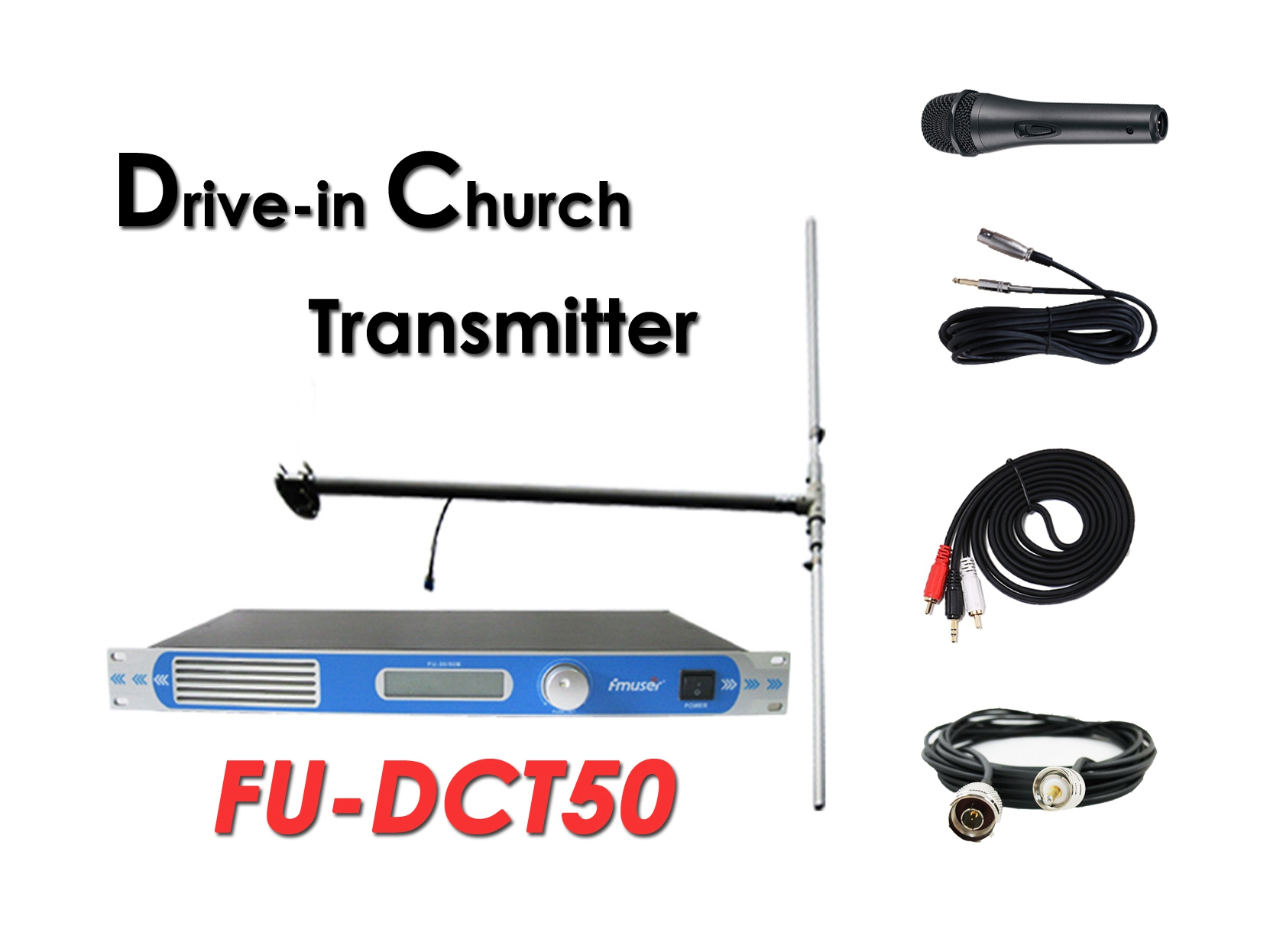 Pakyawan ang Amazon FMUSER FU-DCT50 ​​50Watt FM Transmitter + DP100 Dipole Antenna + Cable + Microphone Itakda Para sa Drive-in Church Service / Cinema / Maraming Paradahan