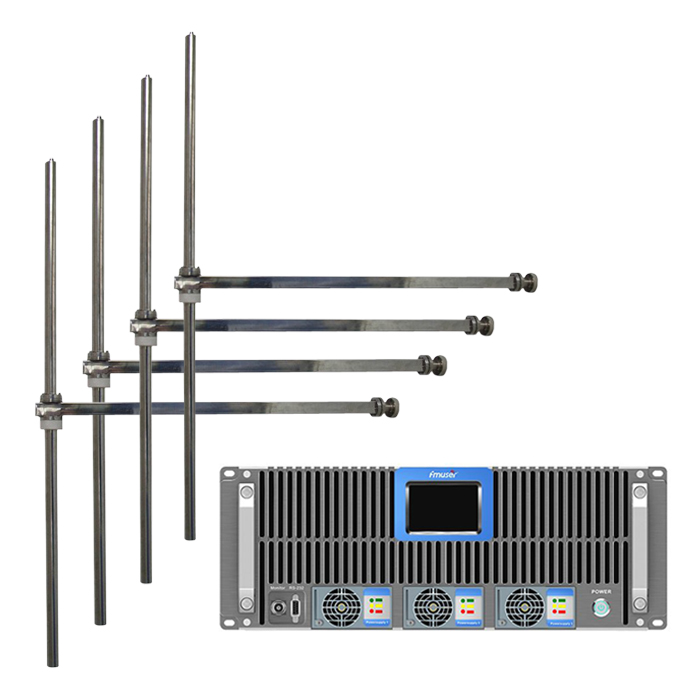 FMUSER FSN-5000T 5KW 5000Watt FM Broadcast Radio Transmitter+4Bay Professional FM Dipole Antenna+80m Cable Set For FM Radio Station