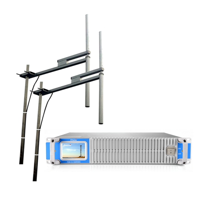 FMUSER FSN-2000T 2000Watt 2KW Transmisor de ràdio de transmissió FM d'estat sòlid + 2 Badies FU-DV2 Antena dipol FM + Cable de 30m 1/2 per a la ciutat / Comunitat / Estació de ràdio comercial