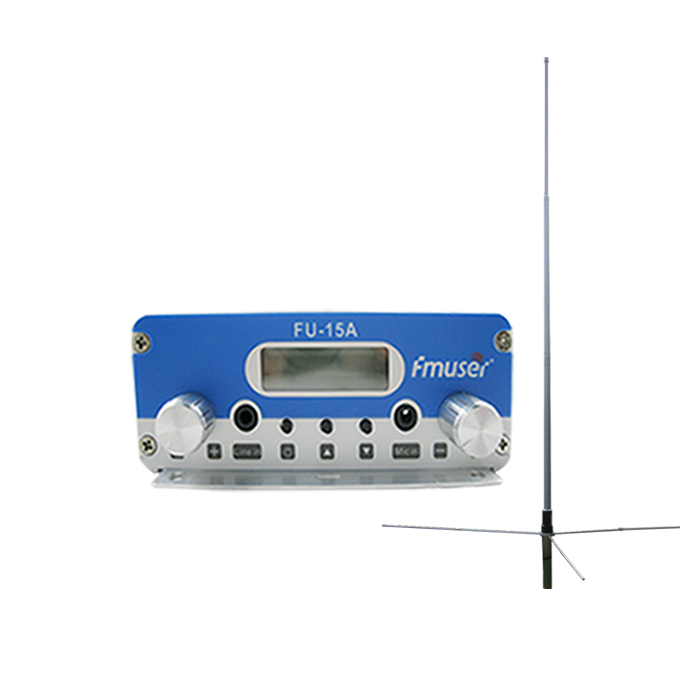 FMUSER FU-15A 15W FM Radio Transmitter Set Long Range FM Transmitter FM Broadcast Transmitter FM Exciter+1/2 Wave GP Antenna+Cable+Power Supply For Radio Station CZE-15A CZH-15A