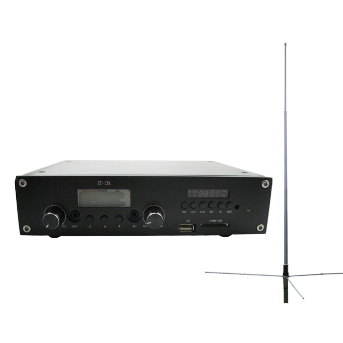 FMUSER ST-15M MP3 USB Drive FM Transmitter PLL Stereo Radio Broadcaster 1/2 wave GP antenna KIT