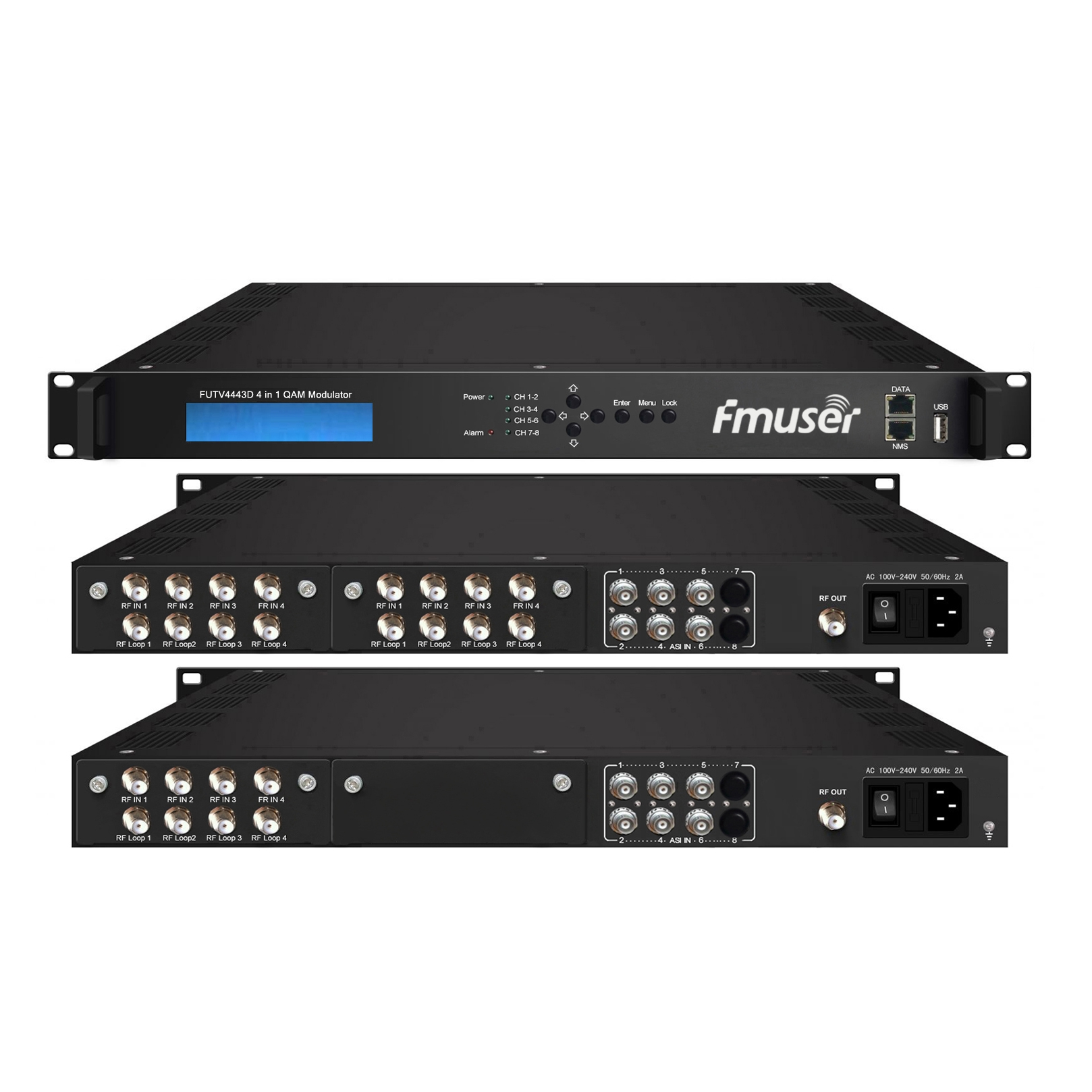 FMUSER FUTV4443D 4 in 1 Mux-Scrambling QAM Modulator(8Tuner + 6*ASI in, 4Tuner + 6*ASI +2*IP out)with web managementtor