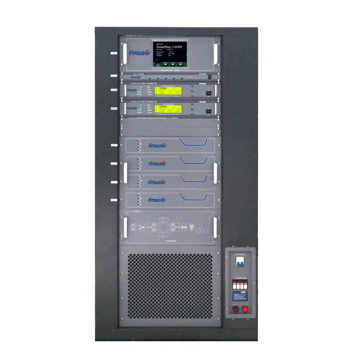 FMUSER FU618F-5kw 5000W 5KW Professional FM broadcast transmitter Rack Mount AES/EBU wiith AGC for City Radio Station